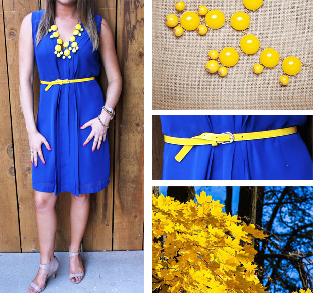 Blue Dress Yellow Necklace