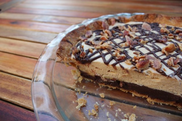 Chocolate Peanut Butter Bacon Layer Pie