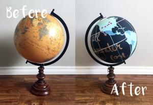 Before and after hand-painted globe