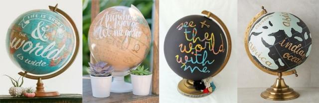 Inspiring hand-painted globe