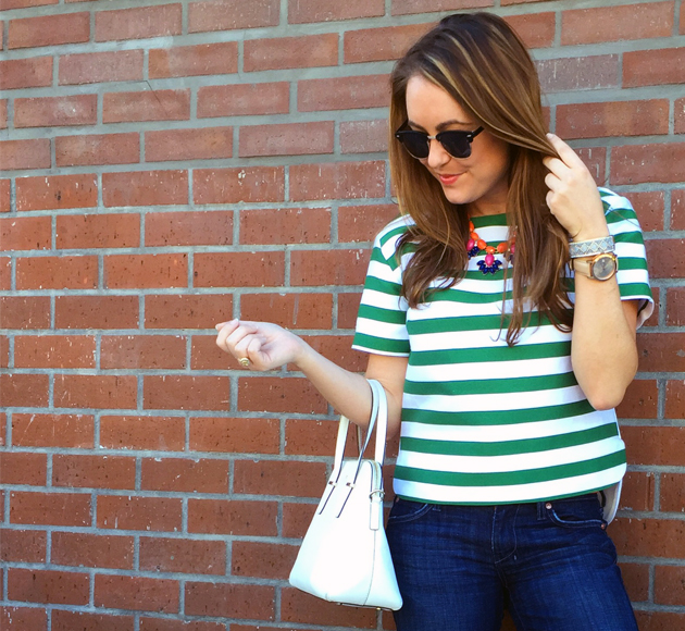 Amanda Schremser Green Kate Spade Strip Top